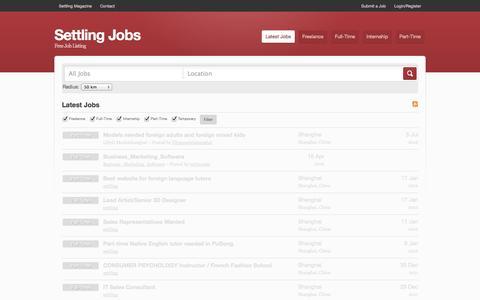Screenshot of Jobs Page settlingmagazine.net - Settling Jobs - captured Oct. 7, 2014