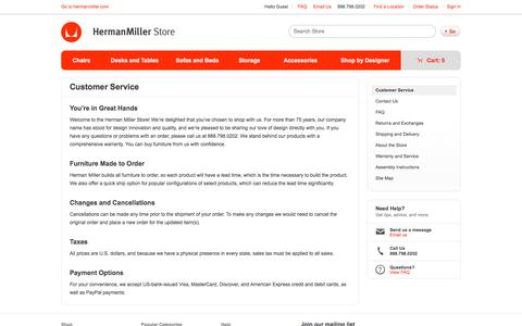 Screenshot of Support Page hermanmiller.com - Customer Service - Herman Miller Official Store - captured May 8, 2017
