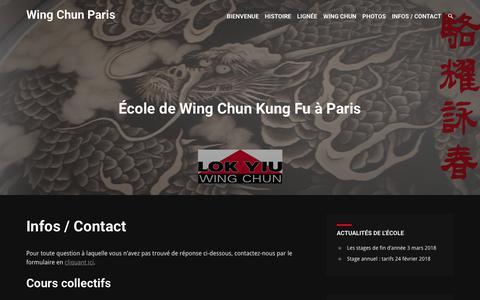 Screenshot of Contact Page wingchunparis.com - Infos / Contact | Wing Chun Paris - captured March 14, 2018