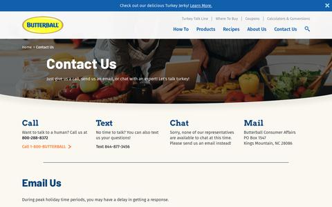 Screenshot of Contact Page butterball.com - Contact Us | Butterball® - captured Sept. 26, 2018