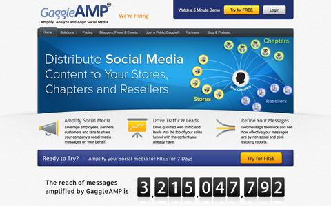 Screenshot of Home Page gaggleamp.com - GaggleAMP - Amplify, Analyze and Align Social Media - captured Sept. 18, 2014