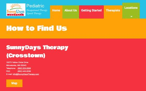 Screenshot of Locations Page sunnydaystherapy.com - Speech and Occupational Therapy - SunnyDays Therapy - captured Oct. 7, 2014