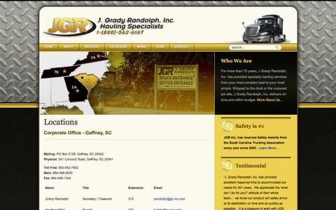 Screenshot of Locations Page jgr-inc.com - Locations - captured Oct. 3, 2014