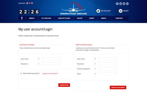 Screenshot of Login Page efsimulator.com - European Flight Simulator > Ecommerce - captured Sept. 26, 2018
