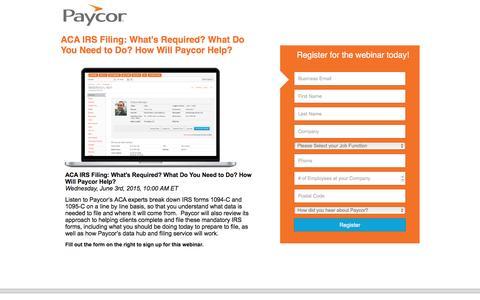 Screenshot of Landing Page paycor.com - ACA webinar - captured Aug. 22, 2016