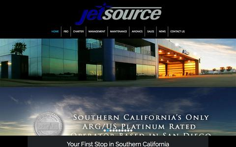 Screenshot of Home Page jetsource.com - Southern California's Leader in Business Aviation - captured Jan. 21, 2015