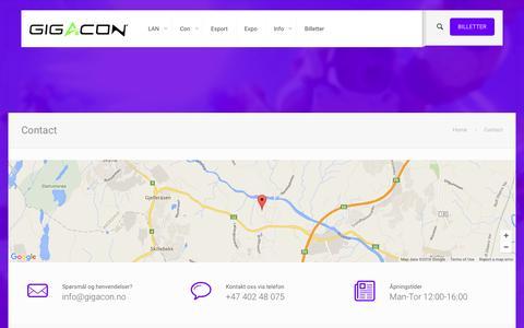 Screenshot of Contact Page gigacon.no - Contact | Gigacon 2016 - captured July 9, 2016