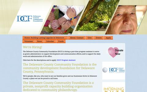 Screenshot of Home Page delcocf.org - Delaware County Community Development Foundation - captured Oct. 5, 2014