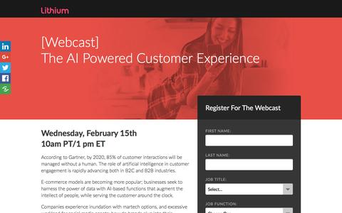 Screenshot of Landing Page lithium.com - [Webcast] The AI Powered Customer Experience - captured Feb. 11, 2017