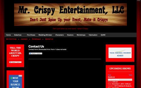 Screenshot of Contact Page mrcrispyentertainment.com - Contact Us - Mr. Crispy Entertainment - captured Oct. 26, 2014
