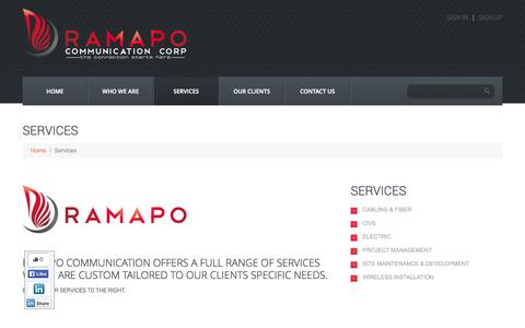Screenshot of Services Page ramapocommunication.com - Services  |  Ramapo Communication Corp. - captured Oct. 27, 2014