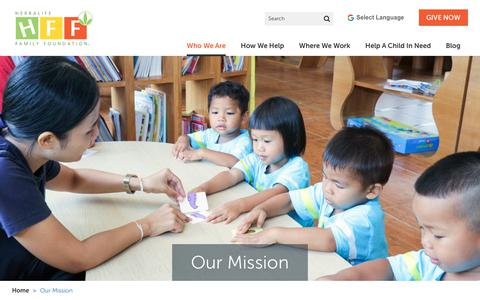 Screenshot of About Page herbalifefamilyfoundation.org - Our Mission to End Malnutrition in Developing Countries | Herbalife Family Foundation - captured June 19, 2018
