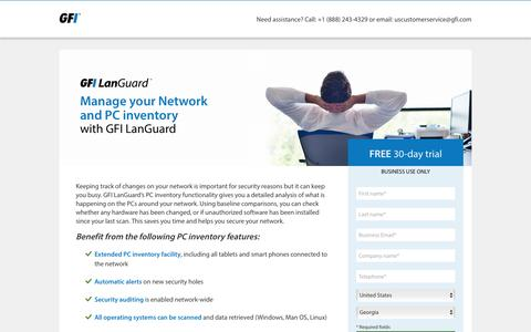 Screenshot of Landing Page gfi.com - Manage your Network and PC inventory with GFI LanGuard - captured June 12, 2016