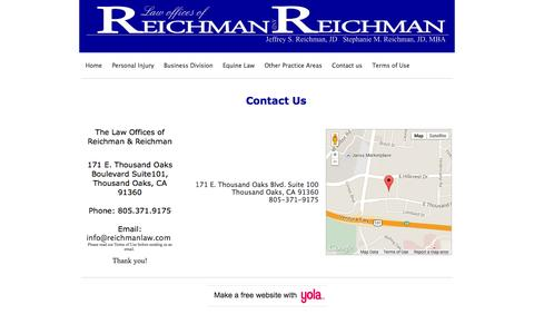 Screenshot of Contact Page reichmanlaw.com - The Law Offices of Reichman & Reichman - captured Oct. 2, 2014