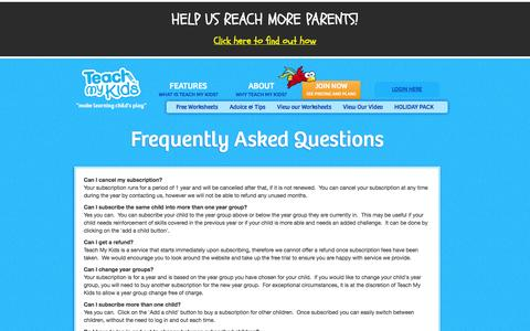 Screenshot of FAQ Page teachmykids.co.uk - Frequently asked questions - Teach My Kids. KS1, KS2 Worksheets, Games - captured Sept. 30, 2014
