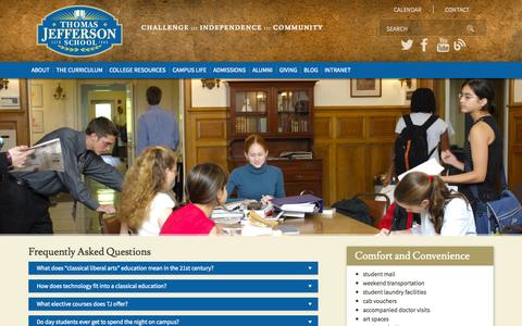 Screenshot of FAQ Page tjs.org - Thomas Jefferson School :: Frequently Asked Questions - captured Nov. 5, 2014