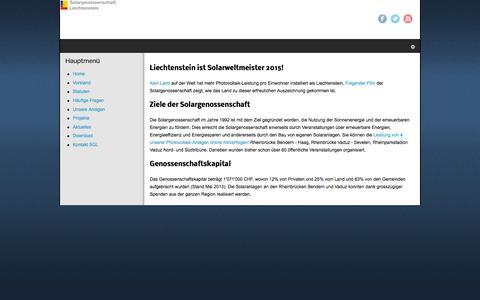 Screenshot of Home Page solargenossenschaft.li - Home - captured June 8, 2016