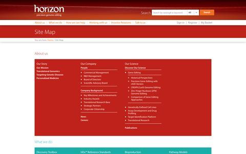 Screenshot of Site Map Page horizondiscovery.com - Horizon Discovery - captured Sept. 16, 2014