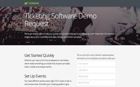 Screenshot of Landing Page vendini.com captured April 20, 2017