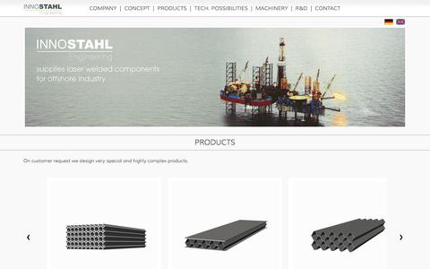 Screenshot of Products Page innostahl.com - Innostahl Engineering - Products - captured June 7, 2016