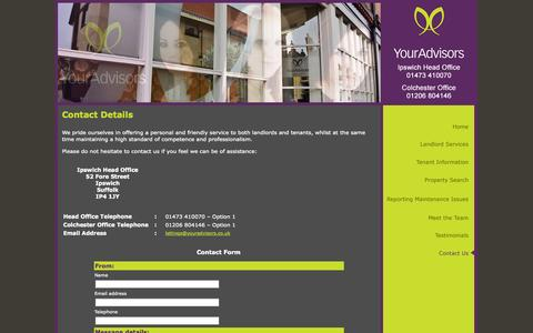 Screenshot of Contact Page youradvisors.co.uk - Your Advisors - captured Oct. 1, 2014