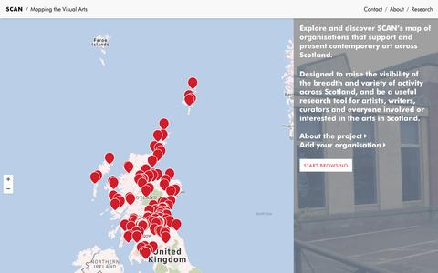 Screenshot of Maps & Directions Page sca-net.org - SCAN / Mapping the Visual Arts in Scotland - captured Nov. 19, 2016