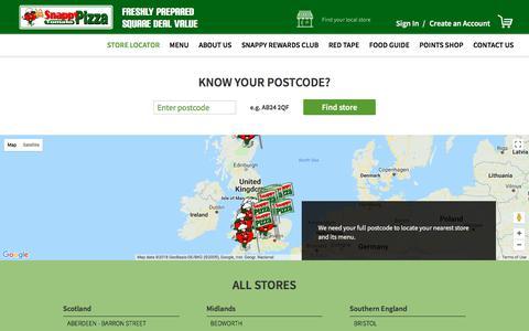 Screenshot of Menu Page snappytomatopizza.co.uk - Store Locator - captured Feb. 27, 2018