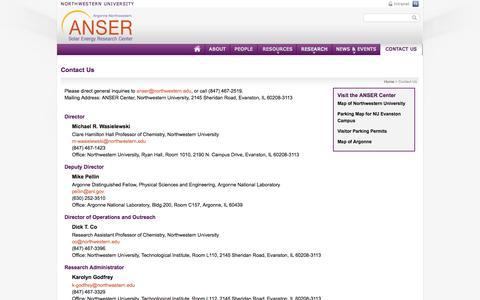 Screenshot of Contact Page northwestern.edu - Contact Us   ANSER Center   Argonne-Northwestern National Laboratory - captured Sept. 18, 2014