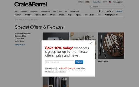 Special Offers & Rebates   Crate and Barrel