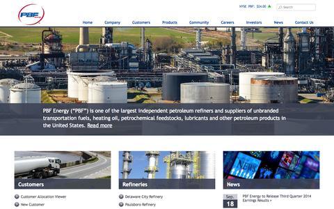 Screenshot of Contact Page pbfenergy.com - Home   PBF Energy - captured Oct. 5, 2014