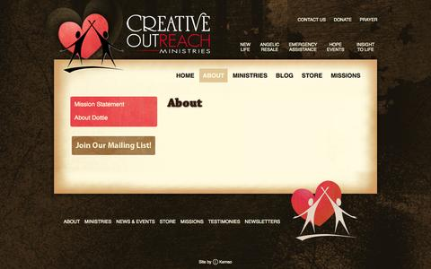 Screenshot of About Page creativeoutreach.com - Creative Outreach Ministries - captured Oct. 3, 2014