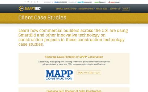 Screenshot of Case Studies Page smartbidnet.com - Commercial Construction Technology Case Studies – SmartBidNet - captured Sept. 8, 2016