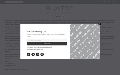Screenshot of About Page buxton.co - Personal Leather Goods - Wallets, Handbags & Other Accessories – Buxton - captured Oct. 11, 2017