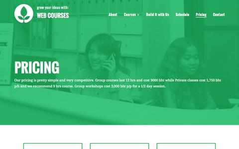 Screenshot of Pricing Page webcoursesbangkok.com - Pricing - Web Courses Bangkok - captured Oct. 1, 2015