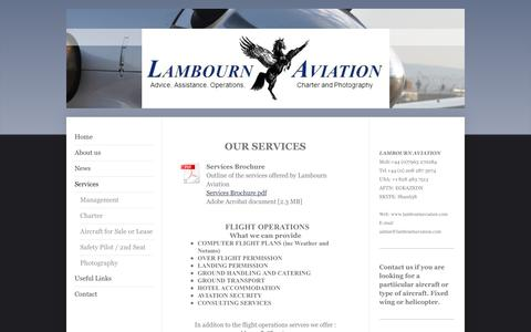 Screenshot of Services Page lambournaviation.com - Lambourn Aviation - Services - captured May 14, 2017
