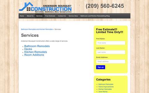 Screenshot of Services Page centralvalleybuilder.com - Services - Bathroom Remodels Merced Atwater Turlock Modesto - captured Oct. 4, 2014