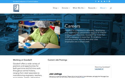 Screenshot of Jobs Page goodwillindy.org - Careers - Goodwill Indy - captured Sept. 12, 2016