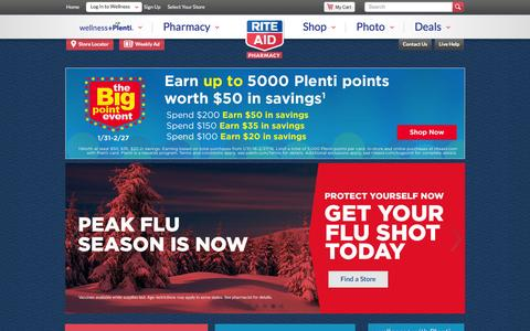 Screenshot of Home Page riteaid.com - Rite Aid Pharmacy - With Us, It's Personal - captured Feb. 10, 2016