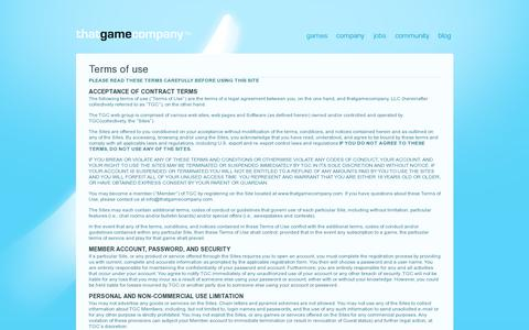 Screenshot of Terms Page thatgamecompany.com - thatgamecompany | TGC   » Terms of use - captured July 21, 2014