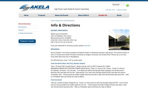 Screenshot of Contact Page Maps & Directions Page akelalaser.com - Directions: AKELA Laser Corporation - captured Oct. 23, 2014