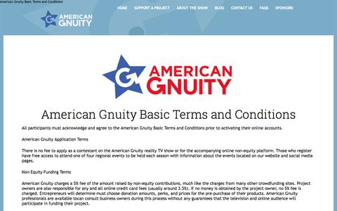 Screenshot of Terms Page gnuity.com - American Gnuity Basic Terms and Conditions - captured Oct. 4, 2014