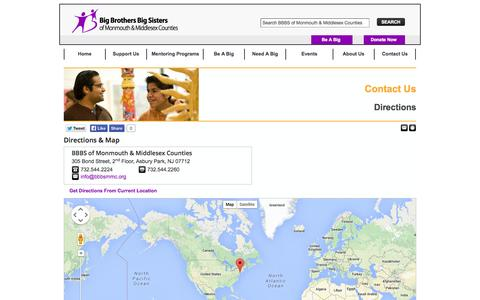 Screenshot of Maps & Directions Page bbbsmmc.org - Directions | Contact Us - captured Oct. 5, 2014