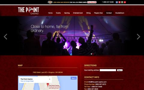 Screenshot of Contact Page the-point-casino.com - Contact the the Point Casino in Kingston, WA | The Point Casino - captured Oct. 9, 2014