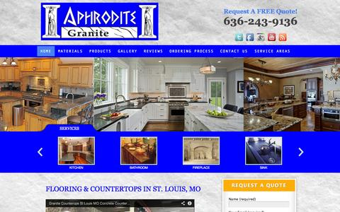Screenshot of Home Page aphroditegranite.com - Granite Countertops St. Louis MO Flooring Stone Fabrication - captured Oct. 4, 2014