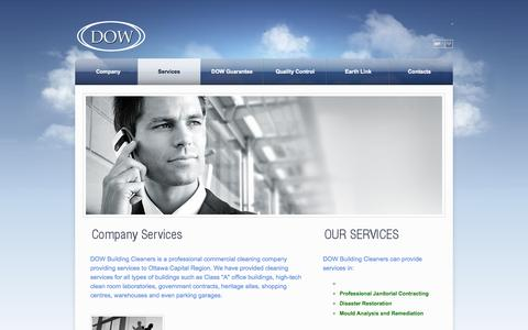 Screenshot of Services Page dowbuildingcleaners.ca - Services - DOW - captured Sept. 30, 2014