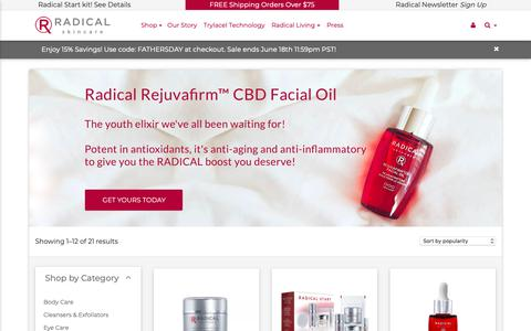 Screenshot of Products Page radicalskincare.com - Products Archive - Radical Skincare - captured June 16, 2019
