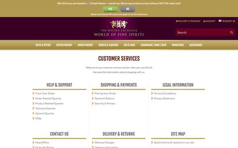 Screenshot of Support Page thewhiskyexchange.com - The Whisky Exchange : Online Whisky Shop - Buy Single Malt Scotch Whisky, Whiskies of the World, Rare Whisky : Buy Online - The Whisky Exchange - captured Oct. 30, 2014