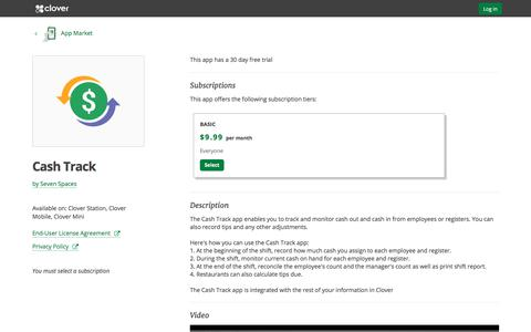 Cash Track by Seven Spaces | Clover App Market | www.clover.com