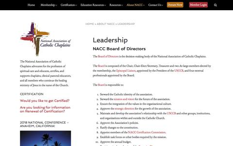 Screenshot of Team Page nacc.org - Leadership - The National Association of Catholic Chaplains - captured Oct. 19, 2017