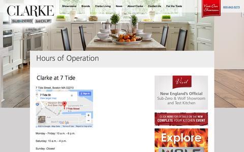 Screenshot of Hours Page clarkeliving.com - Hours of Operation «  Clarke Living - captured Nov. 7, 2016